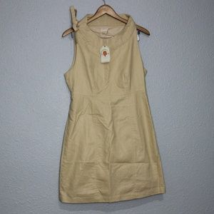 Anthropologie Tulle Tan Shimmer Midi Dress sz L